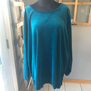 Woman Within Teal Blue Velour Velvet Tunic Top 1X